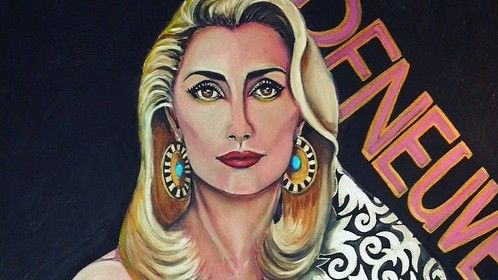 """CATHERINE DENEUVE ~Les Bohèmes de Paris~ (acrylic on canvas/140x100/2012)  """"I feel love, Paris, Paris….. Love to love, Paris, Paris Feelings so close to my heart  Barman dans le shaker, d'abord de l'élégance Un trait de Sacré-Coeur et deux doight de Doisneau Une Piaf, quelques moineaux et Joséphine Baker  Là une de Prévert, mais sans raton-laveur Prenons un dernier verre pres Bateau lavoir Une Sinone de Beauvoir et deux singes en hiver Last night was made for love..  Oh, baby, just take my frozen hands and hear me say Don't let me turn to sand and blow away Though this crowded desert called Paris  I feel love, Paris, Paris Love to love, Paris, Paris Feelings so close to my heart""""……  French actress Catherine Deneuve, was born 22 October 1943 in Paris.  She gained recognition for her portrayal of aloof and mysterious beauties in films such as Repulsion (1965) and Belle de jour (1967). Deneuve was nominated for an Academy Award for Best Actress in 1993 for her performance in Indochine; she also won César Awards for that film and The Last Metro (1980). One of France's most renowned actresses, she has also appeared in seven English-language films, most notably the 1983 cult classic The Hunger. In 2008, she appeared in her 100th film, Un conte de Noël. Deneuve won a second César Award and received an Academy Award nomination as Best Actress for her performance in Indochine (1992), which also won the Academy Award for Best Foreign Film. Deneuve is one of the distinct few to receive an Oscar nomination for a non-English speaking role. Her other significant films were André Téchiné's Ma saison préférée (1993) and Les Voleurs (1995). In 1997, Deneuve was the protagonist in the music video for the song N'Oubliez Jamais sung by Joe Cocker. In 1998 she won acclaim and the Volpi Cup at the Venice Film Festival for her performance in Place Vendôme. In 1999 Deneuve appeared in five films, including: Est-Ouest, Le temps retrouvé, and Pola X. Her part in Lars von Trier's musical dram"""