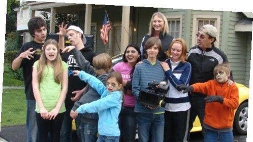 Cast of He's 13! on CBS Studios lot.