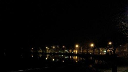City lights in foggy Sunday evening in Lappeenranta