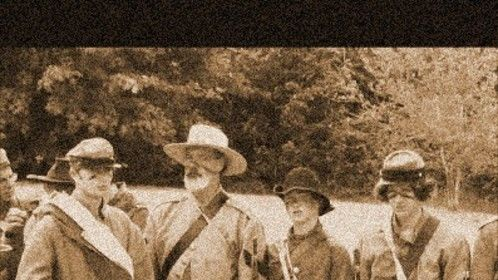 Sepia tinted still of Civil War reenactors from video doc I produced