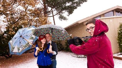 Engagement shoot in the snow in Sedona, AZ