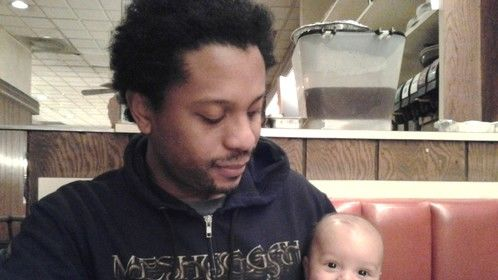 Hangin' with daddy Terry Greene II at a local diner, Nov. 23rd, 3.5 months old