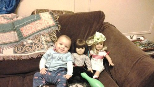 Kayden and his American Girl pals...December 12, 4 months old