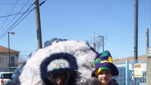 Mardi Gras Indian Frock with head dress.