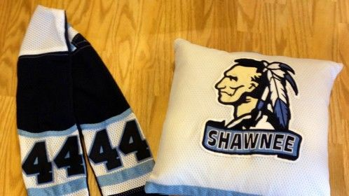 Scarf and pillow made from a hockey jersey