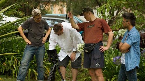 On exterior set location, Aarhon Silver (Director), Ian Nicholson (DOP), George Yuan (sound operator), Parv Dandona. Photo by Gareth Carr.