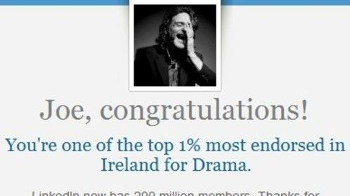 Nice one - one of the top 1% most endorsed on @LinkedIn in Ireland for Drama. http://www.linkedin.com/pub/profile/a/498/589