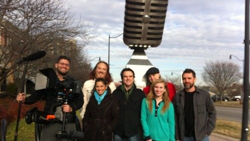 Just finished shooting our pitch reel. Partial cast and crew of Open Mic the Series