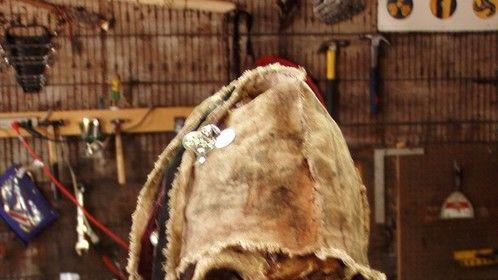 Mummified head, urethane foam and latex. (I didn't make the hat...)