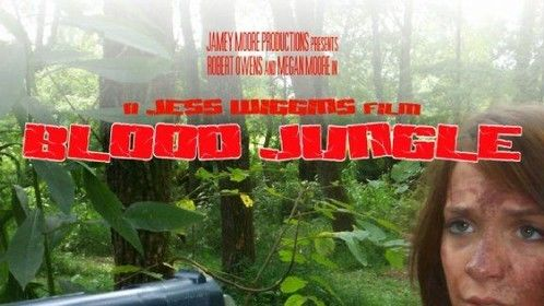 """Box cover art for theindependent film """"Blood Jungle"""" produced by Jamey Moore Productions"""