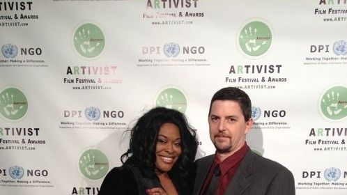 On the red carpet at the ARTIVIST ad wards in Los Angeles