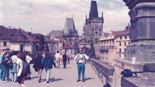 On the Charles bridge in PRAGUE, CZECH REPUBLIC 1995.