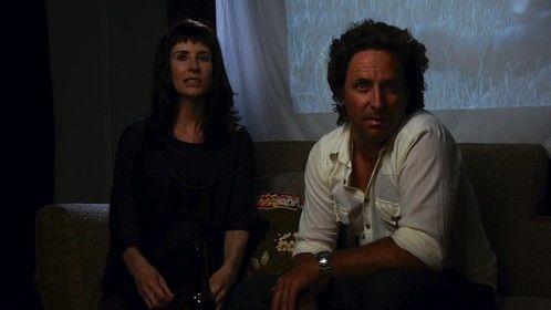 Aaron Ward & Belinda Wylie on set for Vying