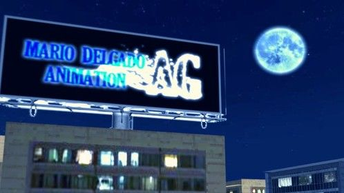 "3D New York City with a billboard of ""Mario Delgado's AG Animation"""