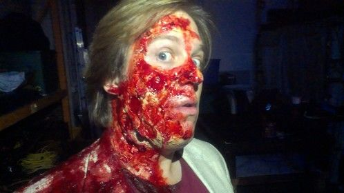 bird shot blast to the face for Click Chamber. Actor Bryan Pactrick Stoyle