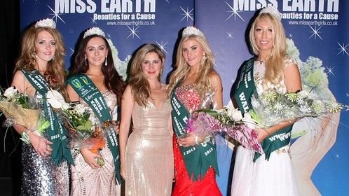 Host of the Miss Earth UK final - centred with winners