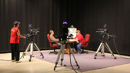 The Dukes of Sports filming in our studio.