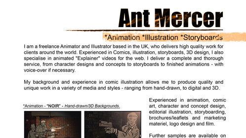 1. Ant Mercer portfolio samples. Storyboards, animatics, 3D, VFX