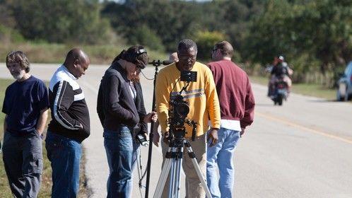 Shooting 'Beautiful Noise' motorcycle scenes.