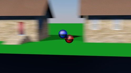 2 spheres clashing it out while whizzing down the street