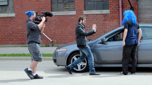 Me directing the camera in a series I play a character in.