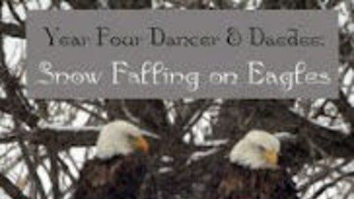 Year Four, Lisa's Bald Eagle Documentary™ book cover (this is the main eagle pair of my study) Dancer is the male (left), Daedee his mate (right)