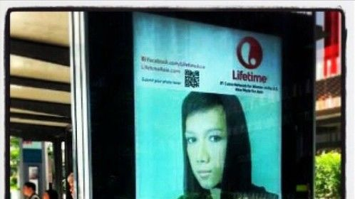 Bus stop billboard... Advert for 'Lifetime Asia'!