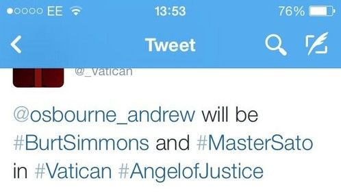 Next year 2014 I'll playing Grandmaster Sato & Burt Simmons in a movie called Vatican #Angel of Justice...