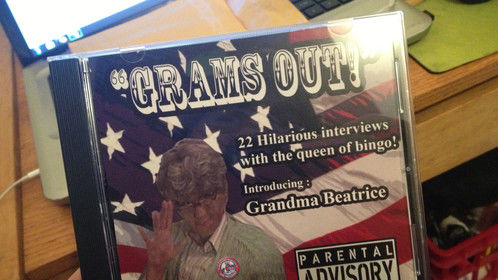 My hilarious CD featuring Grandma Beatrice... a character I created for my movie:)