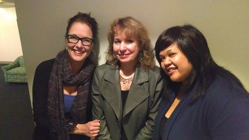 Director Nicole Dominguez (left), playwright Nanette Bulebosh, and actor Ellen D. Williams after premier of Nanette's