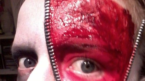 SFX Make-up artist (Zip-face 11/13 - No shading) Facepaint, Liquid Latex, 'Bloody Scab' gel, Zip and Gum Arabic.