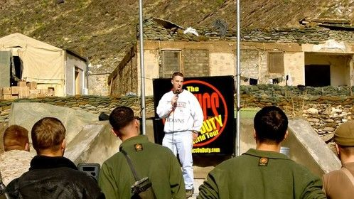 Show for Marines at Camp Blessing, Afghanistan.  Oorah.