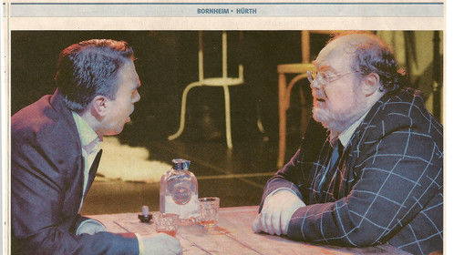 """Review of """"Dinner for One, Killer for Five"""", playing at the Theater im Kloster in Bornheim, Germany, from a local newspaper."""