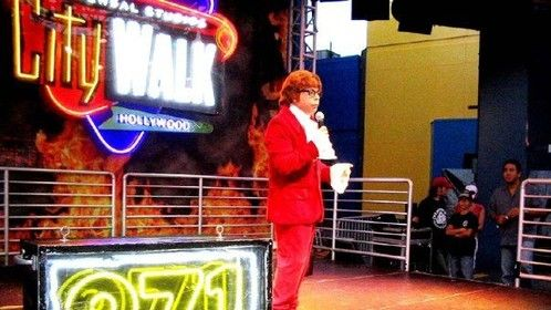 "Hosting a screening of ""Austin Powers: International Man of Mystery"" at Universal Studios Hollywood's CityWalk"
