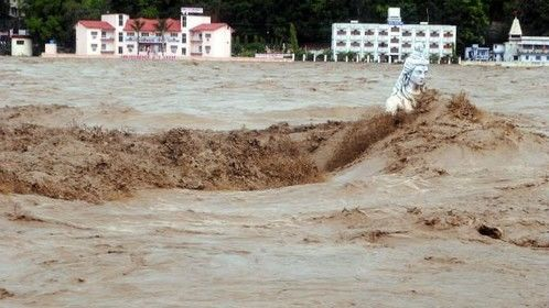 Statue of Shiva was toppled by massive flash floods June 2013 UTTARAKHAND India