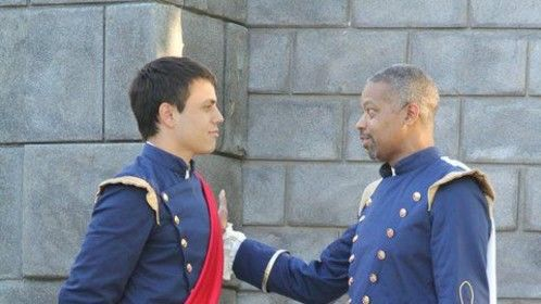 "Don Pedro coaching Claudio on how to woo the fair Hero in ""Much Ado About Nothing""."