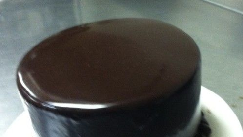 Devils food cake with triple chocolate ganache