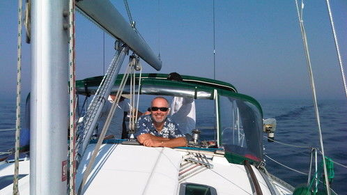 On board Daydreamer, my pride and joy.