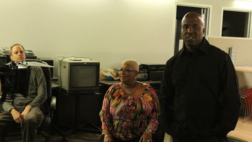 Marvin on the set of Budz House with actor/comedian Luenell