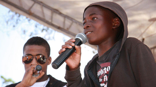 T.O. performing with a kid from his rap workshop.. more on www.TOinkenya.tumblr.com