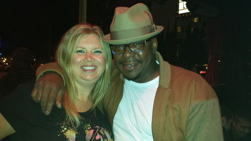 Singer Bobby Brown gives Vicki Wagner Big Props after she performs at the Comedy Store on Sunset!