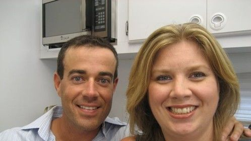 Vicki Wagner and Carson Daly getting ready in a makeup trailer on the Universal Backlot