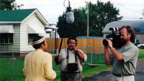 """Kent Moorhead with soundman Benny Walls, on the civil rights documentary """"Standing on My Sisters' Shoulders"""", for which he was Director of Photography."""