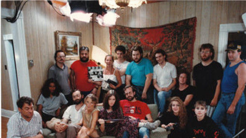 Kent Moorhead in 1989 with the cast and crew of Dory, for which he was Director of Photography.  This was a Canadian drama by John Kozak.