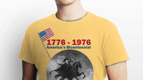 T- Shirt Mock Up for SUMMER OF '76 movie character.