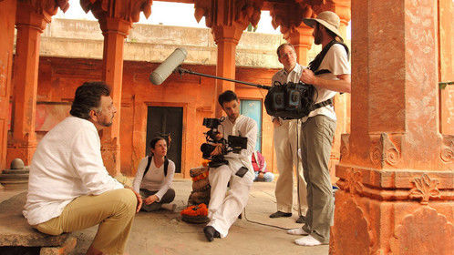 At a temple in Varanasi, India, filming scenes for our web series pilot, Future Certain.