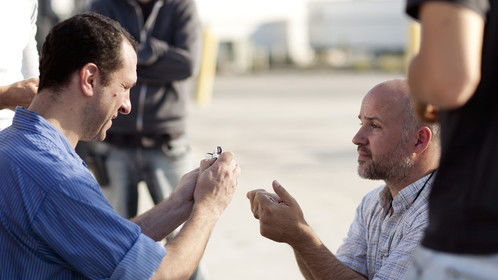 Directing Barry Alan Levine in the final scene of Happy Birthday Michael Peck