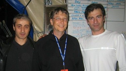 From the left: Temuri Koridze, Bill Gates, and Badri Essatia