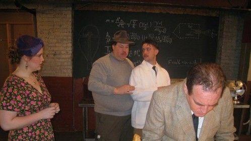 Dr. Robert's lab at the University... Me explaining scene to cast.