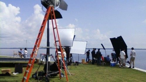 on location at Lake Monroe, first shot of the film